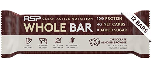 RSP Whole Bar - Keto Protein Bar, High Fat, Low Carb, Superior Taste, Zero Added Sugar, Gluten Free, 12 Pack (Chocolate Almond Brownie)