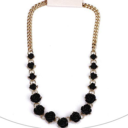 Tony Jeans 2019 Style Luxrious Black Beige Color Rose Chunky ChokerBib Statement Design Necklace N3273