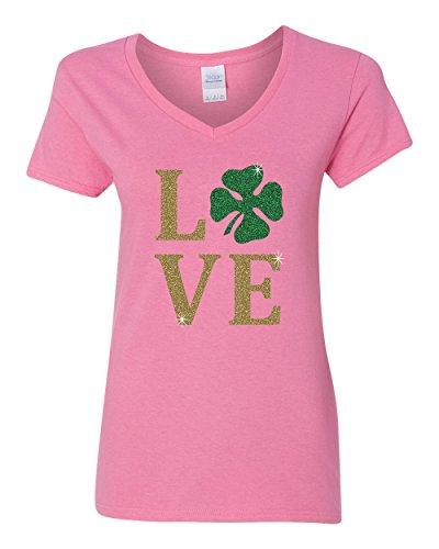 (Love Clover Gold Glitter St Patrick's Day Womens V Neck T-Shirt Pink Large)