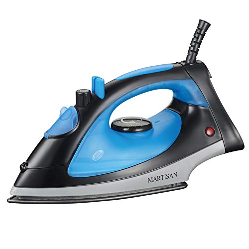 MARTISAN SG-5068 Compact 1200W Steam Iron Nonstick Soleplate Lightweight Iron, Variable Temperature Steam, Blue/Black