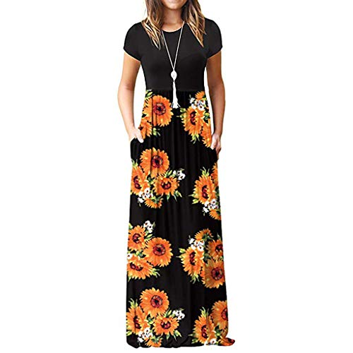 Wholesale Women Dress (Aniywn Women Printed Floor-Length Maxi Dress Sunflower O-Neck Short Sleeve Casual Bohemian Long Dress)