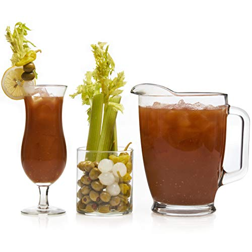 - Libbey Modern Bar Bloody Mary Entertaining Set with 6 Hurricane Glasses, 3 Cylinder Jars and Pitcher
