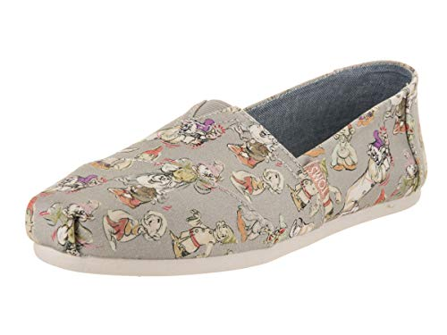 TOMS Disney Grey Seven Dwarfs Printed Canvas 10012738 Classic Slip-Ons Womens Size 8.5