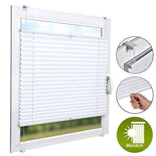 Sol Royal Pleated Blinds No Drilling SolDecor P26 80x220 cm White Temporary Blind for Windows Adjustable Roller Blinds