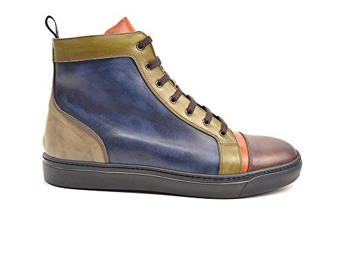 DIS Gianmarco - Sneaker pelle deco multicolore personalizzata, fatto a mano e su misura, made in Italy.