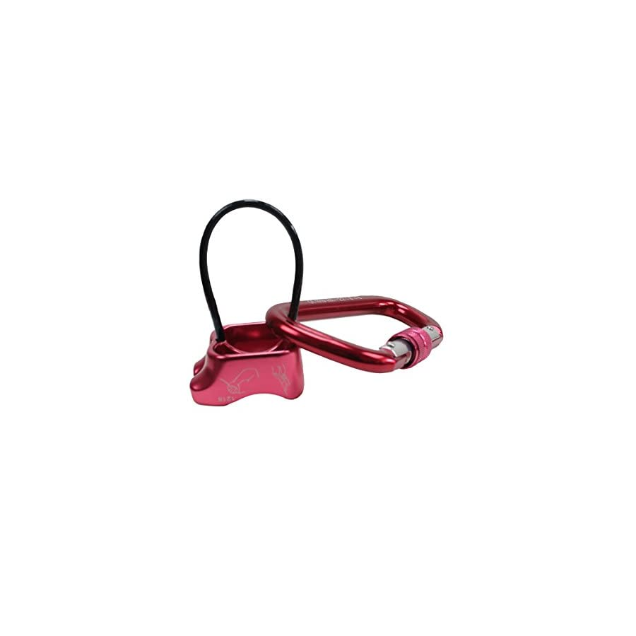Geelife Rock Climbing Belay Device ATC and Carabiner Professional Rappelling Descender Safety Equipment (Red)