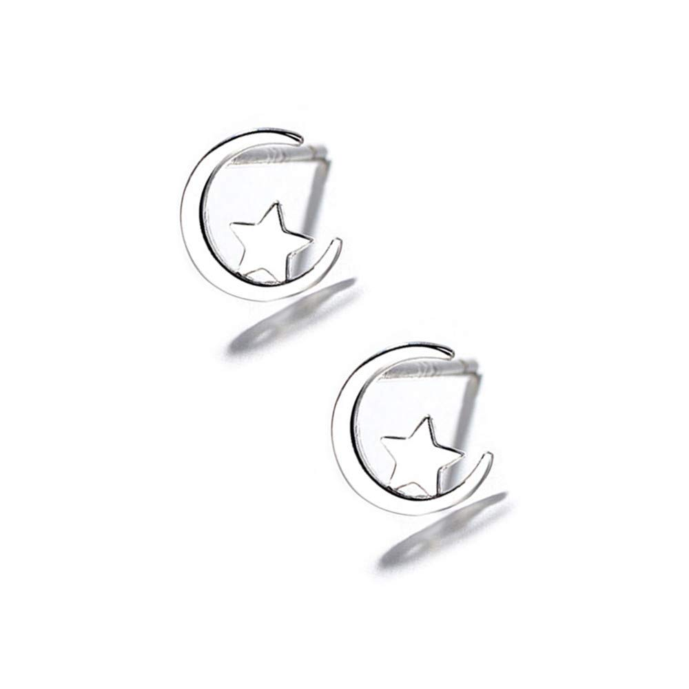 Tiny moon Star Studs Earrings for Women Teen Girls Kids S925 Sterling Silver 14K White Gold Plated Small Cartilage Tragus Piercing Ears Crescent Moon Post Pin Mini Cute Jewelry Fashion Gifts Children