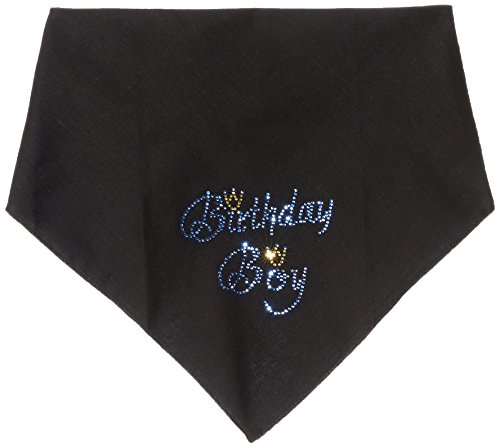 Mirage Pet Products Birthday Boy Rhinestone Bandana, Large, Black