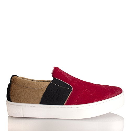 Collezione Privee Multi Color Pony Slip Slip On Sneaker Bottom Red
