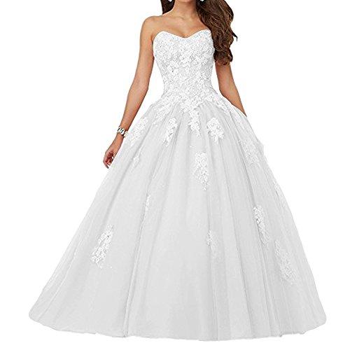 de Vestido de Sin de Largo Quinceañera Tirantes JAEDEN Vestido Tul Mujer Fiesta Noche Vestido Blanco qgx4ZFp
