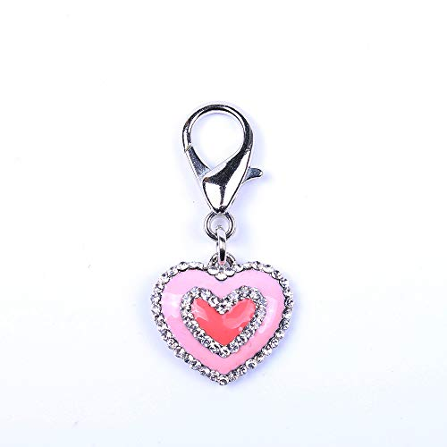 - SKS PET Rhinestones Love Charm Pendant Jewelry for Pet Dog Cat Necklace Collar Accessory (Pink)