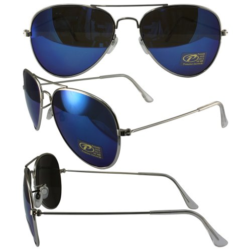 Coast Sunglasses Aviator Pacific (Pacific Coast Sunglasses Aviator Sunglasses Silver Chrome Frames Blue Mirror Lenses)