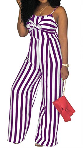 - PerZeal Women's Sexy Spaghetti Strap Striped Jumpsuit Sleeveless Wide Leg Long Pants Casual Rompers Purple