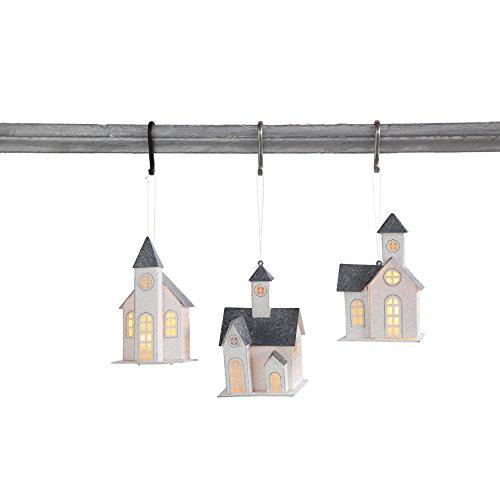 Set of 3 Paper Church Ornaments