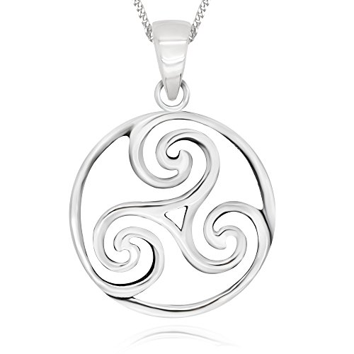 925 Sterling Silver Triple Spiral Celtic Round Pendant Necklace, 18