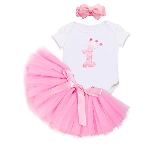 Birthday Outfit Girl 1st Birthday Outfit Dress Baby Girls' Tutu Romper (L, - Outfit Birthday 1st Construction