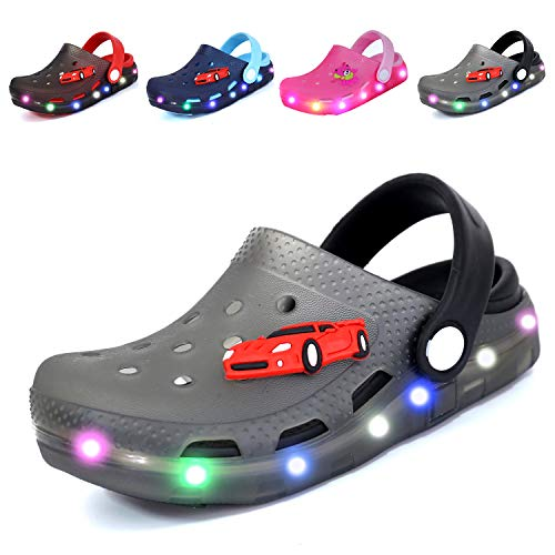 Nishiguang Kids Cute LED Flash Lighted Garden Shoes Clogs Sandals Children Boys Girls Toddlers Summer Breathable Slippers Gray/Black 23