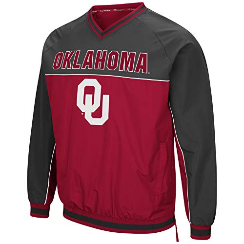 Colosseum Men's NCAA Athletic V-Neck Windbreaker Pullover with Tackle Twill Embroidery-Oklahoma ()