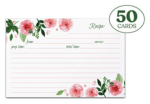 Jot & Mark Recipe Cards Floral Double Sided 4x6 50 Count (Pink Peonies) -