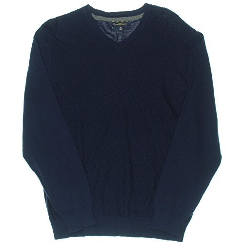 Club Room Mens Long Sleeves Diamond Knit Pullover Sweater Navy L