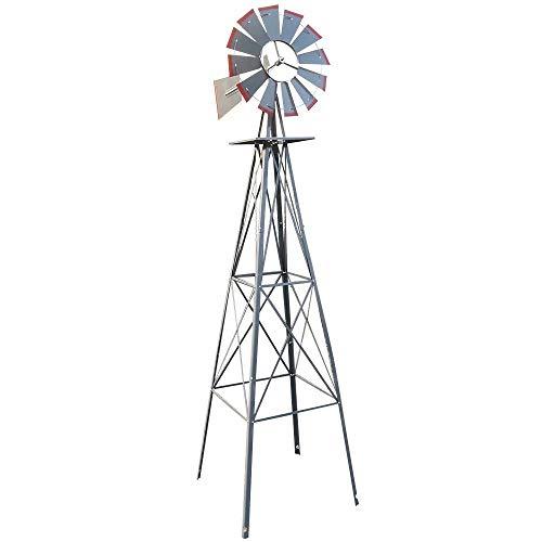 - VINGLI 8FT Ornamental Windmill Backyard Garden Decoration Weather Vane, Heavy Duty Metal Wind Mill w/ 4 Legs Design, Grey