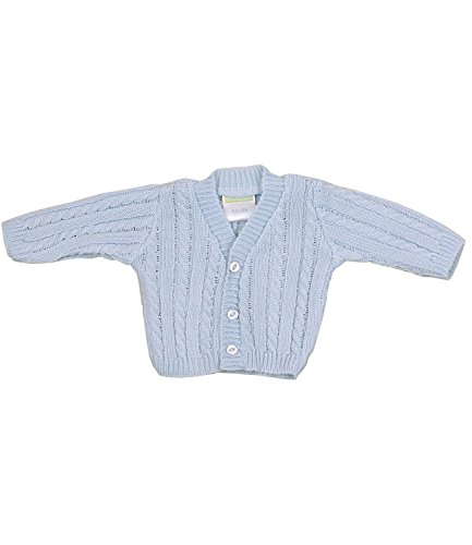 BabyPrem Preemie Baby Cardigan Jacket Cable Knit Acrylic 3-8lb Blue PREM 3