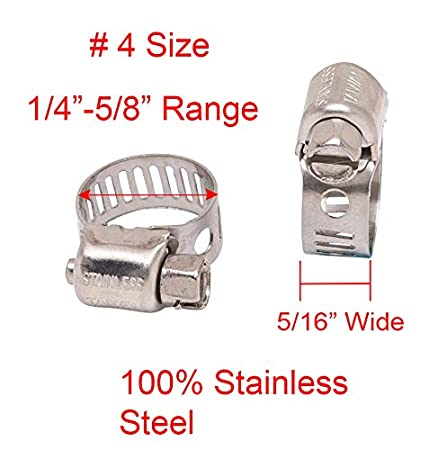1//2-1-1//16 18-8 S//S #10 Mini Stainless Hose Clamp Diameter 5//16 Wide Band 10pc 300 SS