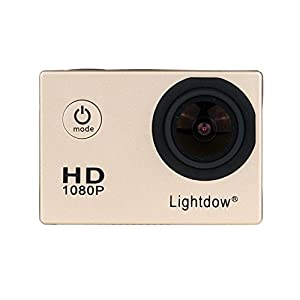 Lightdow LD4000 1080P HD Sports Action Camera Bundle with DSP:NT96650 Chip, 1.5-Inch LPS-TFT LCD, 170° Wide Angle Lens and Bonus Battery (Gold)