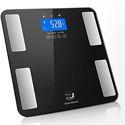 Excelvan - Bascula Táctil de Análisis Corporal (LED, Datos de 10 Usuarios, Medidor de Peso, BMI, Grasa, Agua, Calorias, Masa Muscular y Osea,Carga ...