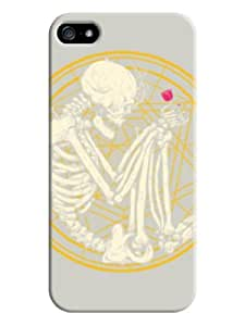 Human skeleton holding a rose with beige background for iphone 5/5s on-online