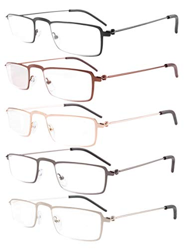 Eyekepper 5-Pack Straight Thin Stamped Metal Frame Half-eye Style Reading Glasses Readers +1.5