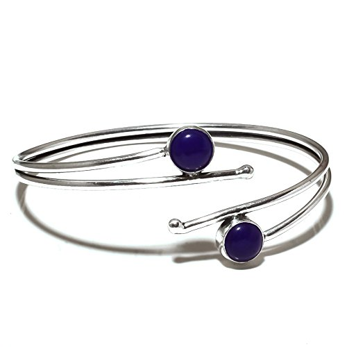 Awesome! Blue Dyed Sapphire Sterling Silver Overlay 14 Grams Bangle/Bracelet Free Size