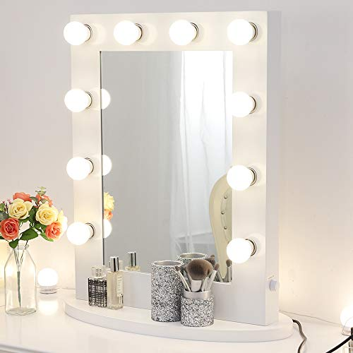 - White Hollywood Makeup Vanity Mirror with 12 Dimmable Light Bulbs, Natural Daylight Lighting Wall Mirror with Detachable Base, LED Lighted Cosmetic Mirror for Bedroom Dressing Room (6550)