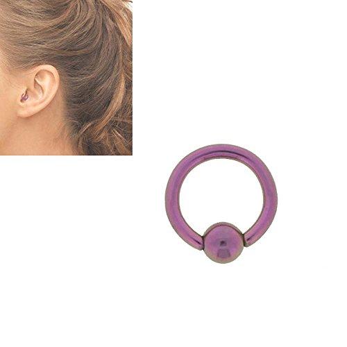 Piercing Anneau Surface Tragus Acier Anodisé 1.2x6mm Rose