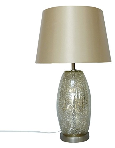 nu steel LS-348 Champagne Crackled Table Lamp with Silver Mercury Base with Beige Shade, 12