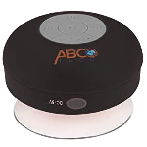 Abco Tech Water Resistant Wireless Bluetooth Shower Speaker with Suction Cup and Hands-Free Speakerphone, Black