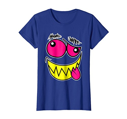 Womens Crazy Monster Faces Easy Halloween Costume T-Shirt v3 Small Royal (Crazy Person Costume)