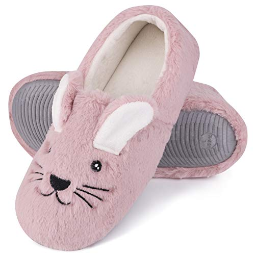 Women's Comfy Faux Bunny Fur Memory Foams Loafer Slippers Fuzzy Plush House Shoes Anti-Skid Rubber Sole (7-8 B(M) US, Cute Rabbit) Pink