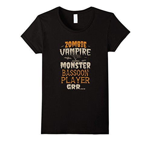 Womens Zombie Vampire Monster Bassoon Player Halloween 2017 T-Shirt Small Black