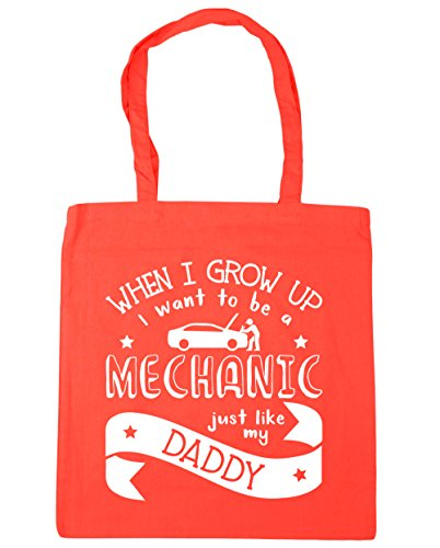 HippoWarehouse WHEN I Grow Up I Want To Be A mecánico Just Like My Daddy Tote Compras Bolsa de playa 42cm x38cm, 10litros Coral