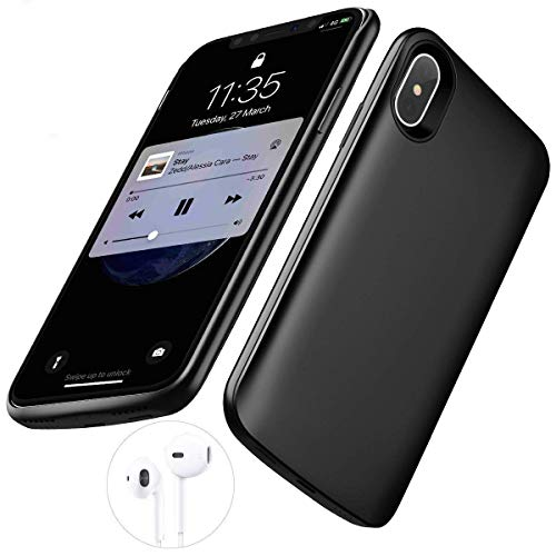 iPhone X/XS Battery Case,[6000mAh] iPhone x/xs Portable Charger,Portable Rechargeable Protective Charging Case Slim Apple iPhone 10,Support Lightning Earphone Sync-Though(Black)