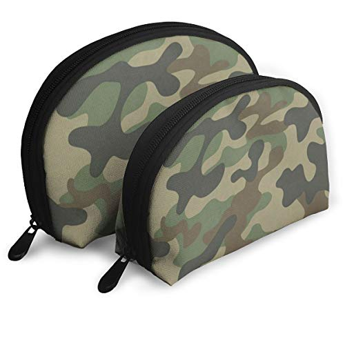 Makeup Bag Green Camouflage Portable Shell Storage Bag For Girls Holiday Pack - 2