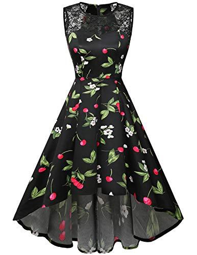 Homrain Women's Vintage Elegant Lace Sleeveless Hi-Lo Cocktail Prom Party Swing Dress Black Small Cherry XL ()