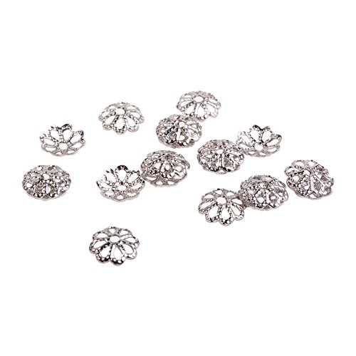 PandaHall Elite Jewelry Making Metal Brass Bead Caps Hollwed 5 Petal Flower Cup Shape Beads Diameter 6mm Platinum a Bag