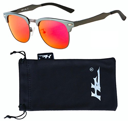 HZ Series AeroMaster – Premium Polarized Sunglasses made with High Grade Aerospace Aluminum Alloy by Hornz – Gun Metal Grey Frame – Fire Red Mirror Lens