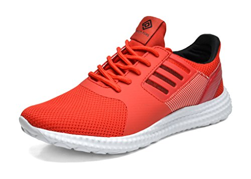 Dream Pairs 160821-M New Men's Sport Light Weight Flexible Athletic Gym Running Shoes Sneakers RED BLACK SIZE (Mens Red Sneakers)