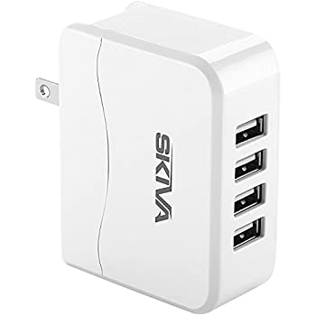 Skiva PowerFlow QuadFire (4-Port USB / 4.9 Amps / 24.5 Watt) Rapid USB Wall/AC Charger for iPhone X 8 plus 7 7+ 6s SE, iPad Pro Air mini, Samsung Galaxy S7, Nexus 7 & more [Color:White] [Model: AC104]