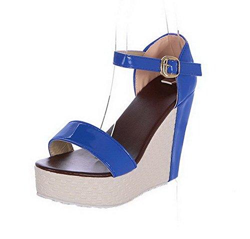 Haut Unie Couleur VogueZone009 à Bleu Sandales Boucle Talon Femme CCAFLO013398 qw44IxF