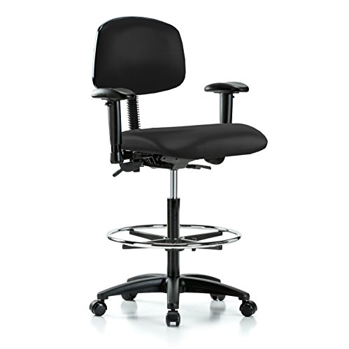 Multi Swivel Task (PERCH Multi Task Swivel Chair with Foot Ring and Wheels for Carpet or Linoleum, Counter Height, Black Fabric)