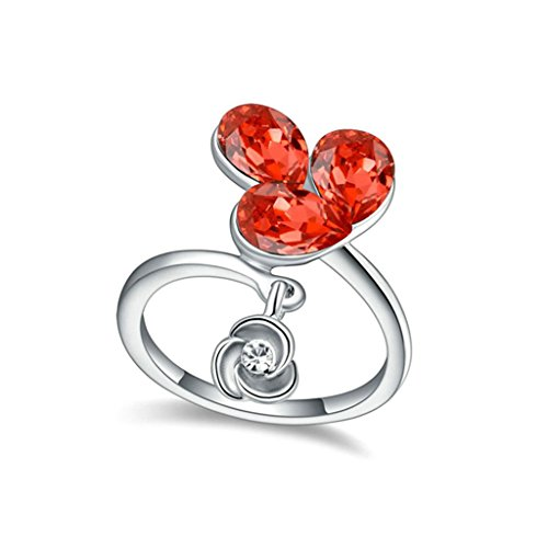 AMDXD Jewelry Gold Plated Eagagement Rings for Women Flower Drop Red Size 7
